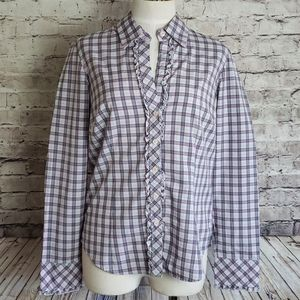 EUC Lilly Pulitzer Plaid Ruffle Button Down Blouse